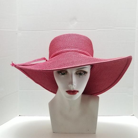 9b65a541 Magid Accessories | Pink Wide Brim Floppy Sun Paper Straw Hat | Poshmark